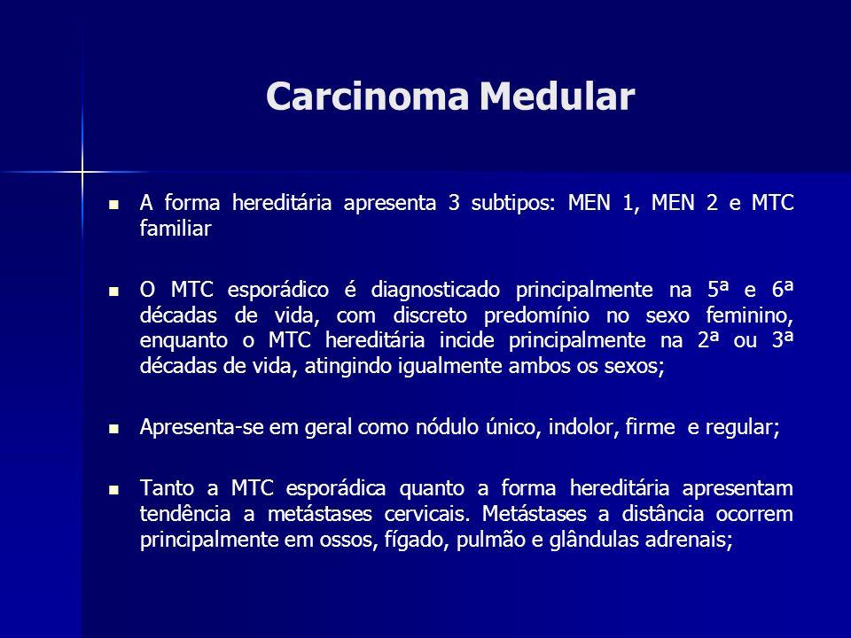 Carcinoma Medular A forma hereditária apresenta 3 subtipos: MEN 1, MEN 2 e MTC familiar.