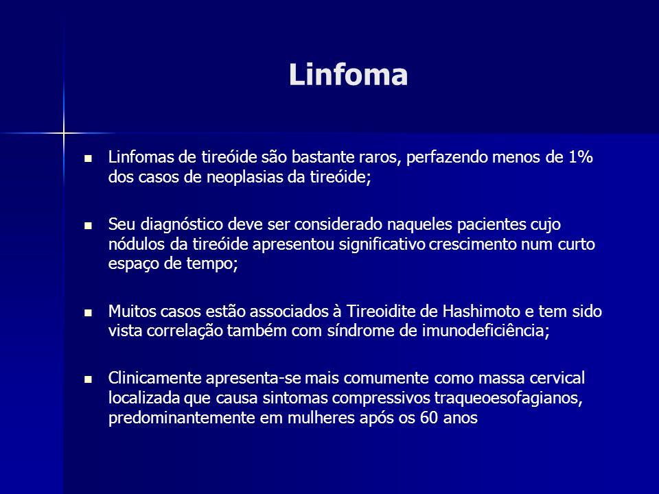 Linfoma Linfomas de tireóide são bastante raros, perfazendo menos de 1% dos casos de neoplasias da tireóide;