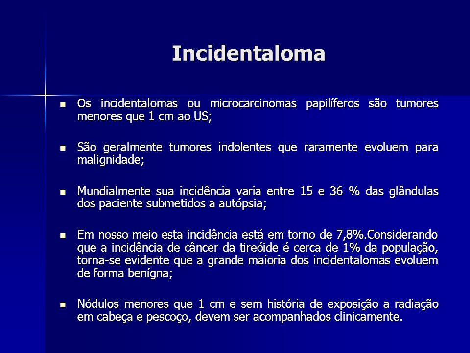 Incidentaloma Os incidentalomas ou microcarcinomas papilíferos são tumores menores que 1 cm ao US;