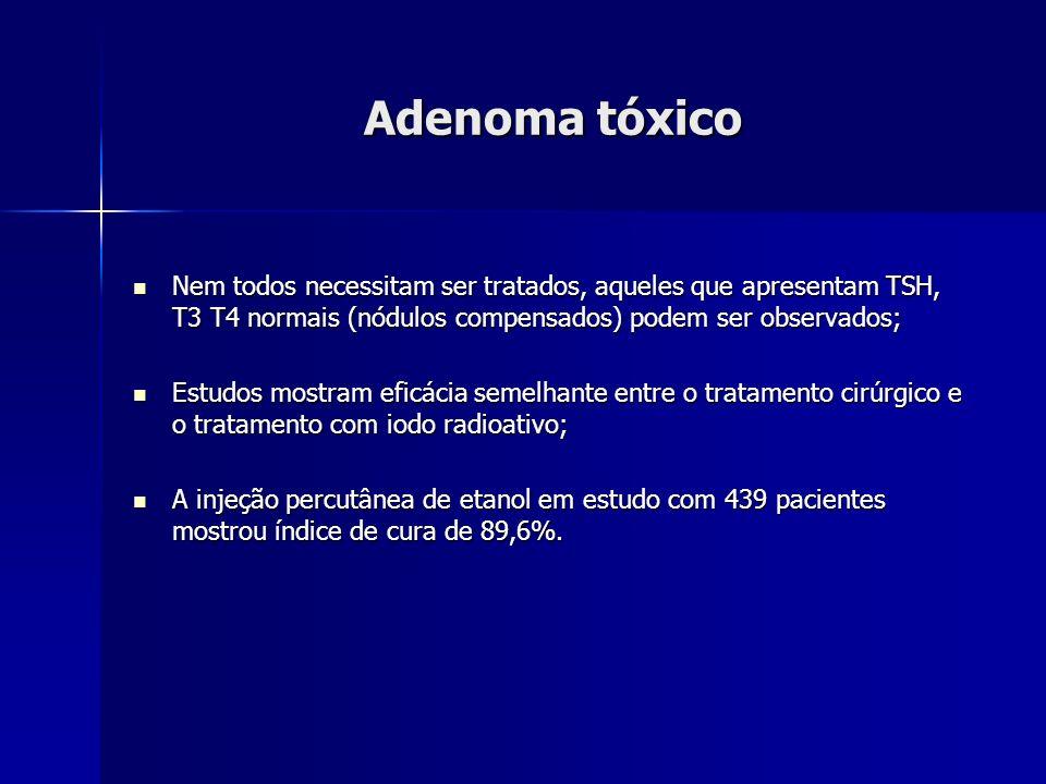 Adenoma tóxico Nem todos necessitam ser tratados, aqueles que apresentam TSH, T3 T4 normais (nódulos compensados) podem ser observados;