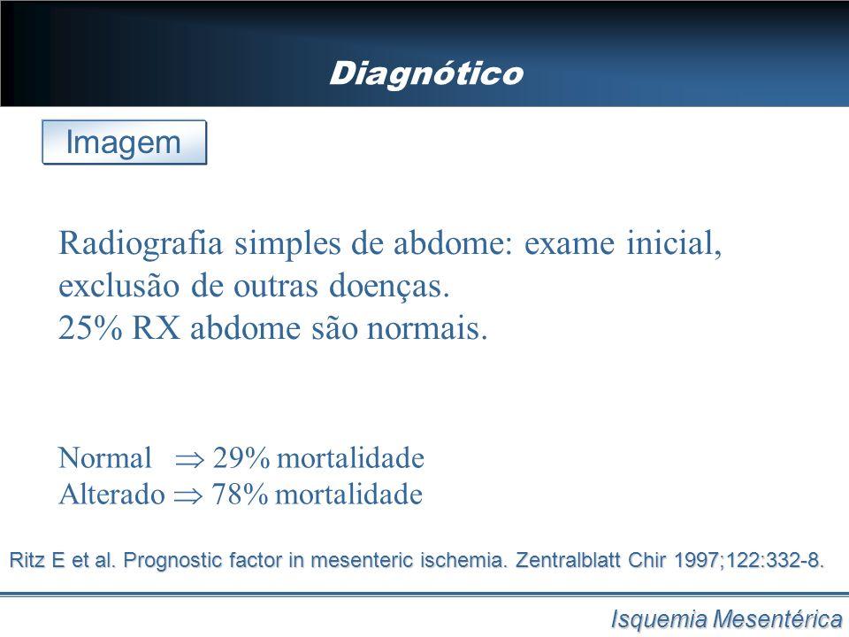Diagnótico Imagem. Radiografia simples de abdome: exame inicial, exclusão de outras doenças. 25% RX abdome são normais.