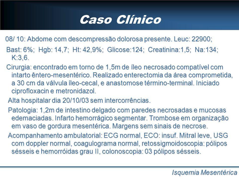 Caso Clínico 08/ 10: Abdome com descompressão dolorosa presente. Leuc: 22900;