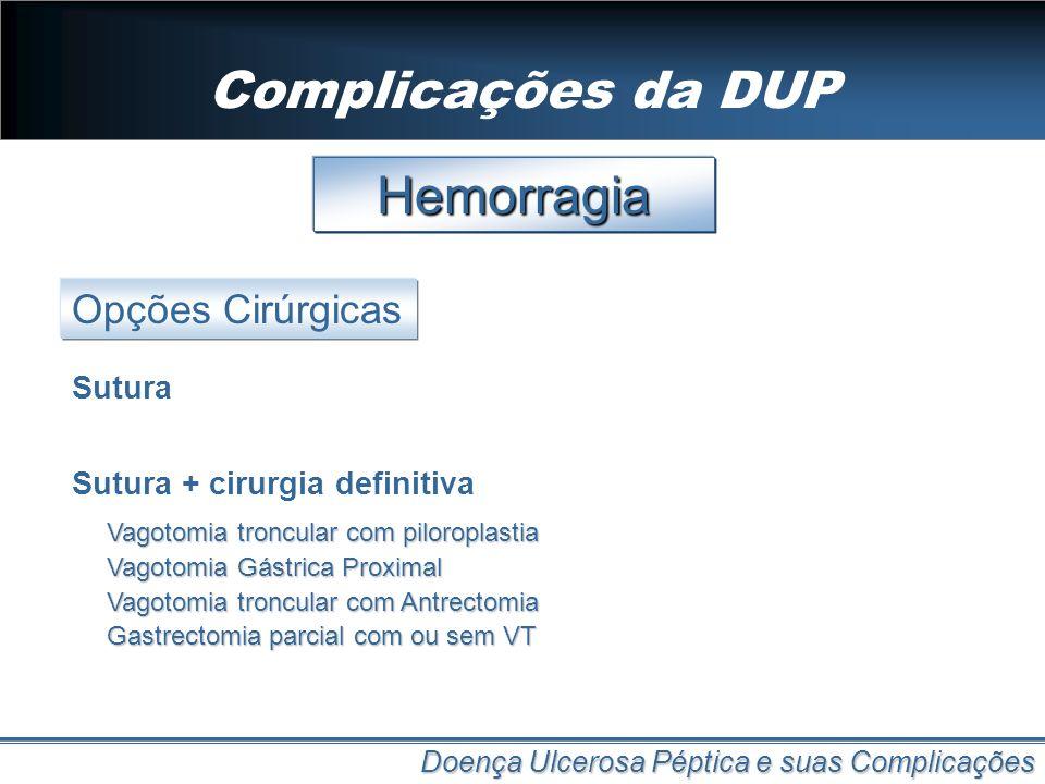 Complicações da DUP Hemorragia Opções Cirúrgicas Sutura