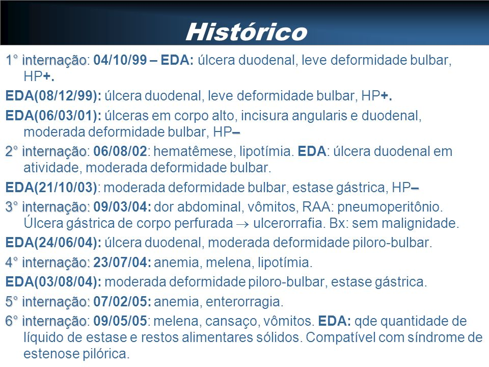 Histórico 1° internação: 04/10/99 – EDA: úlcera duodenal, leve deformidade bulbar, HP+.