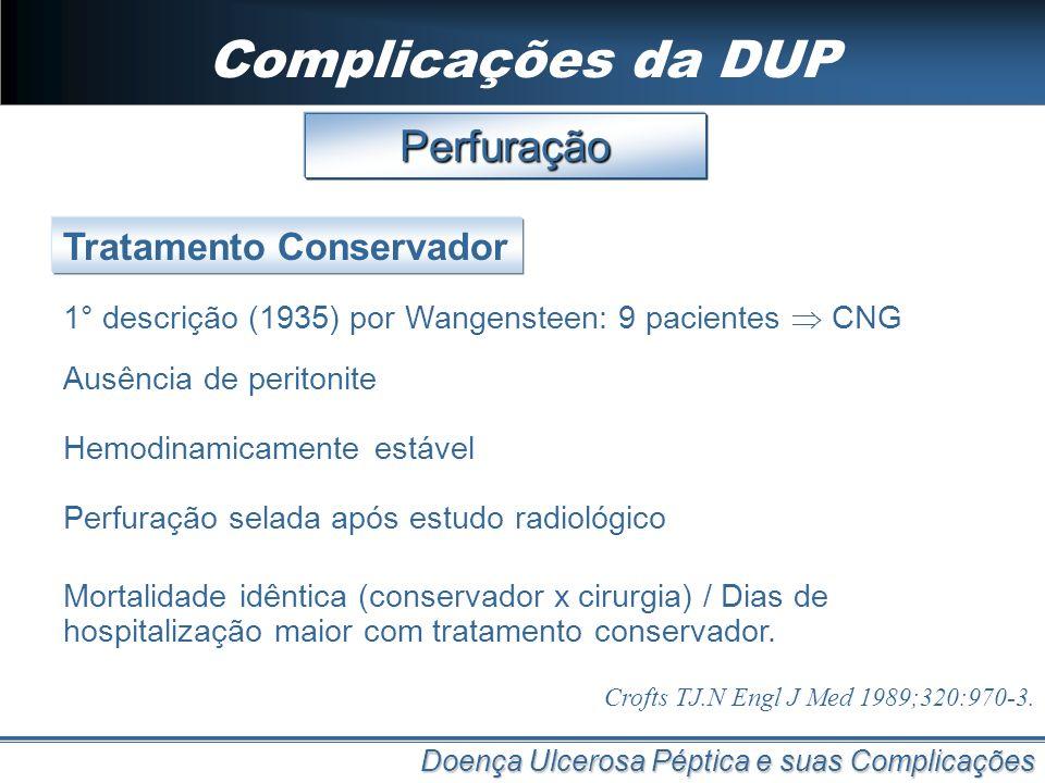 Complicações da DUP Perfuração Tratamento Conservador