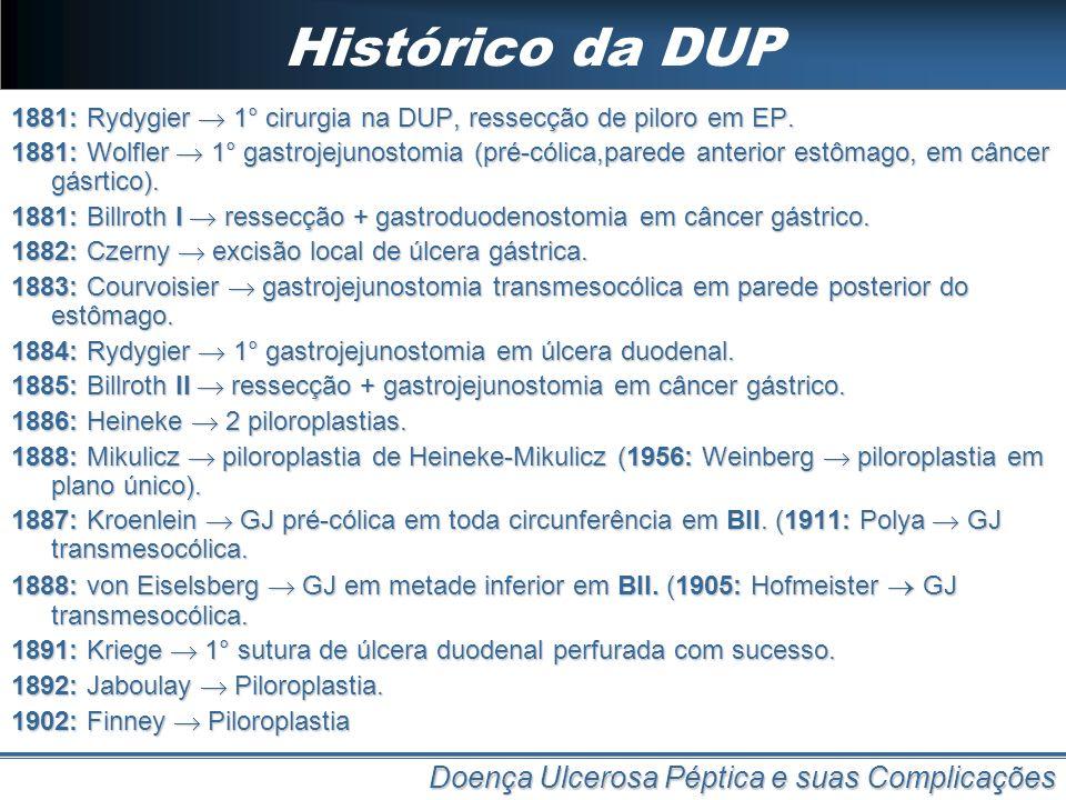 Histórico da DUP Doença Ulcerosa Péptica e suas Complicações