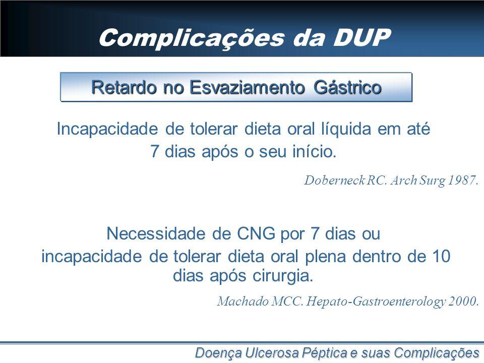 Complicações da DUP Retardo no Esvaziamento Gástrico