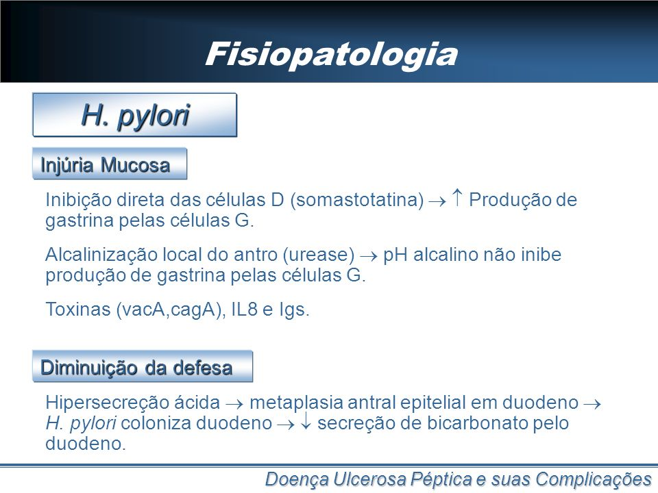 Fisiopatologia H. pylori Injúria Mucosa Diminuição da defesa
