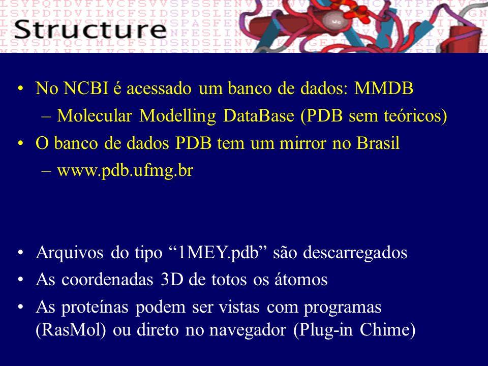 No NCBI é acessado um banco de dados: MMDB