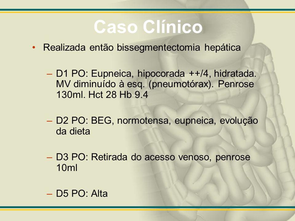 Caso Clínico Realizada então bissegmentectomia hepática