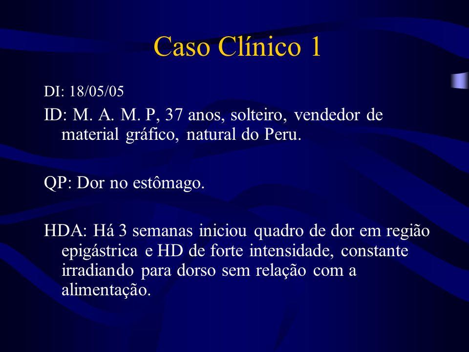 Caso Clínico 1DI: 18/05/05. ID: M. A. M. P, 37 anos, solteiro, vendedor de material gráfico, natural do Peru.