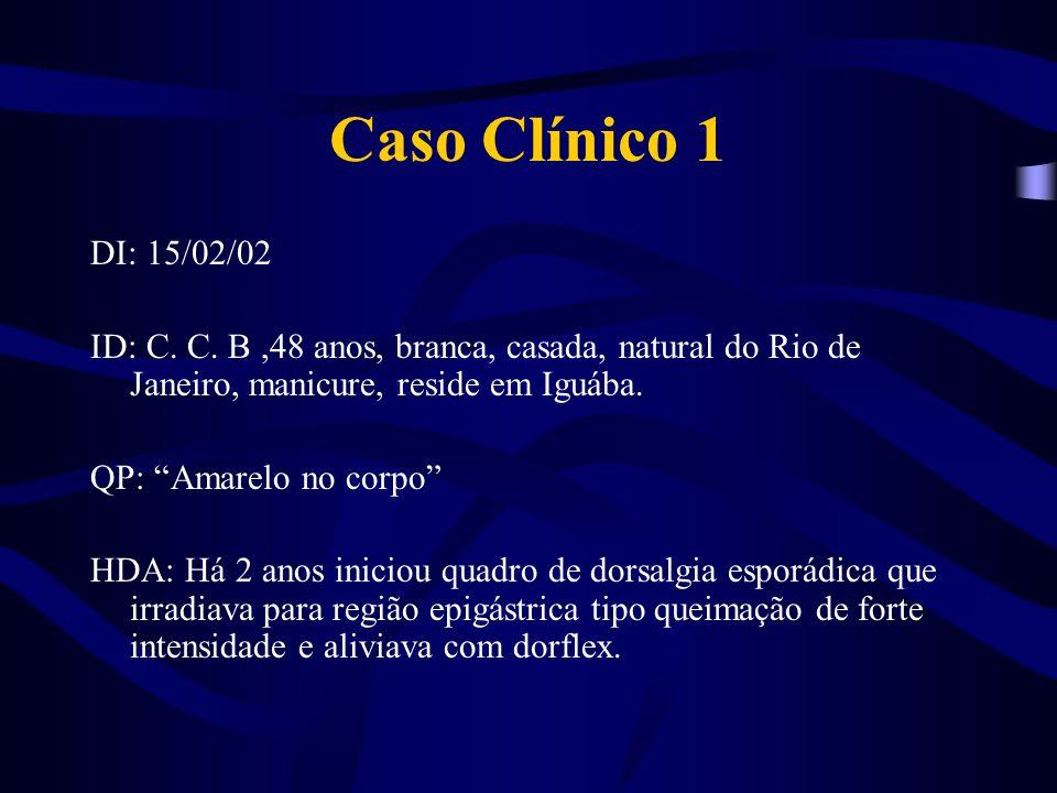 Caso Clínico 1 DI: 15/02/02. ID: C. C. B ,48 anos, branca, casada, natural do Rio de Janeiro, manicure, reside em Iguába.