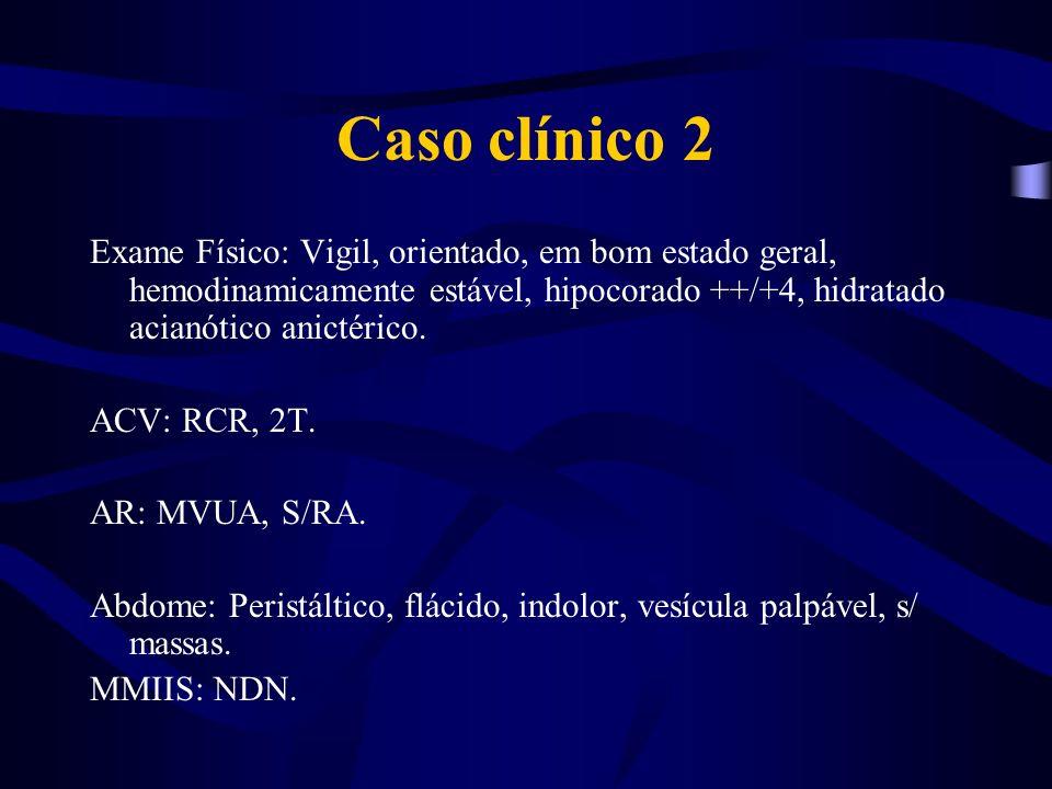 Caso clínico 2Exame Físico: Vigil, orientado, em bom estado geral, hemodinamicamente estável, hipocorado ++/+4, hidratado acianótico anictérico.
