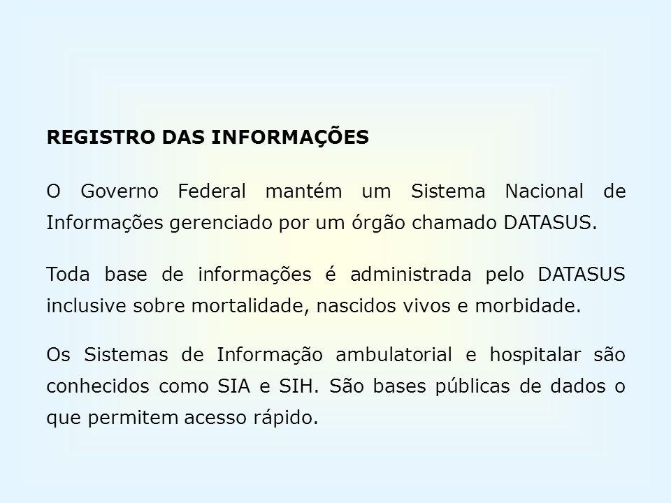 REGISTRO DAS INFORMAÇÕES. O Governo Federal mantém um Sistema Nacional de Informações gerenciado por um órgão chamado DATASUS.