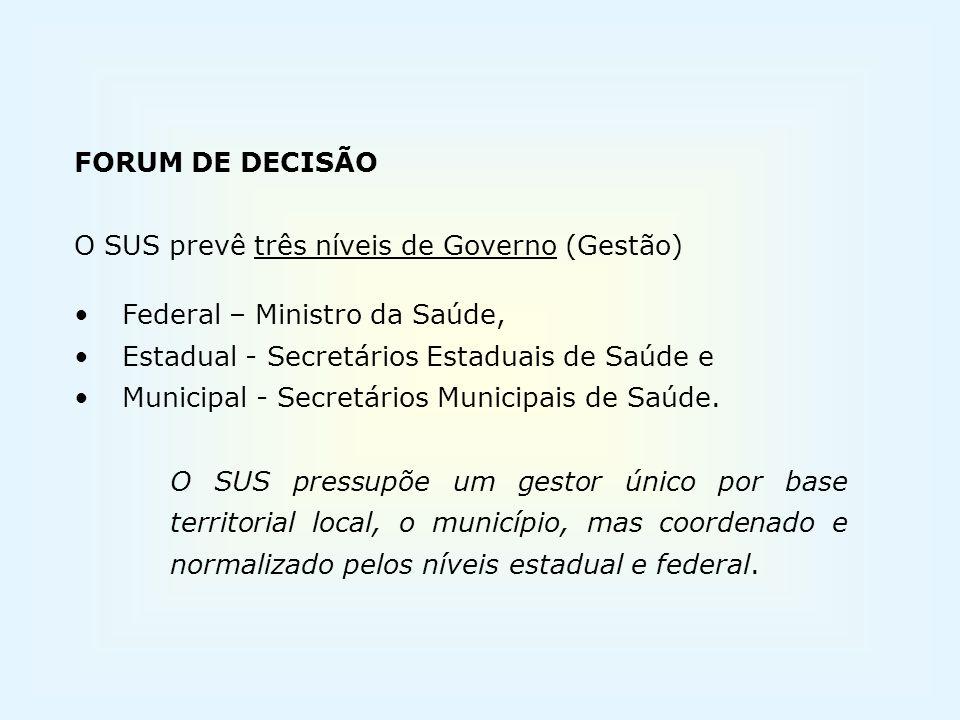 FORUM DE DECISÃO O SUS prevê três níveis de Governo (Gestão) Federal – Ministro da Saúde, Estadual - Secretários Estaduais de Saúde e.