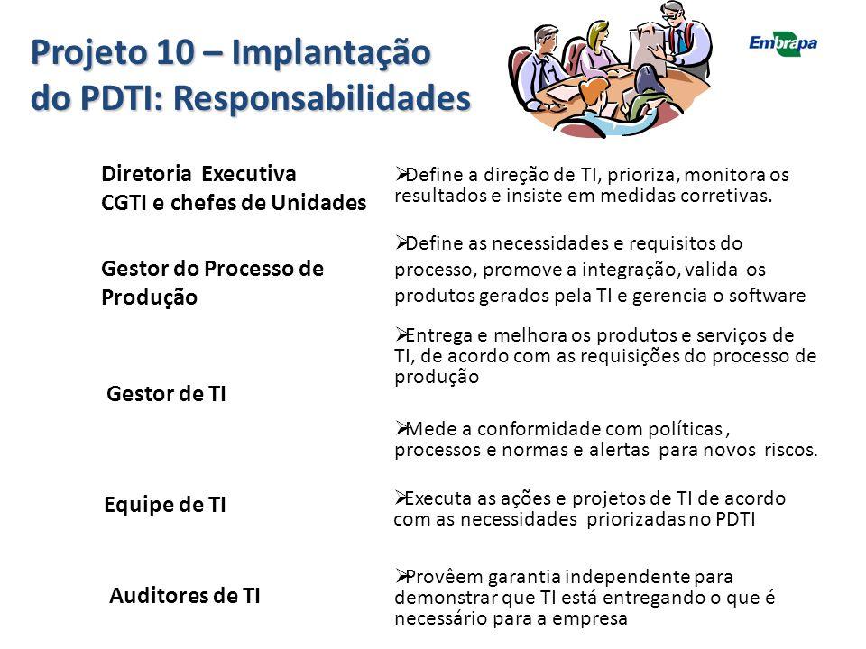 Projeto 10 – Implantação do PDTI: Responsabilidades