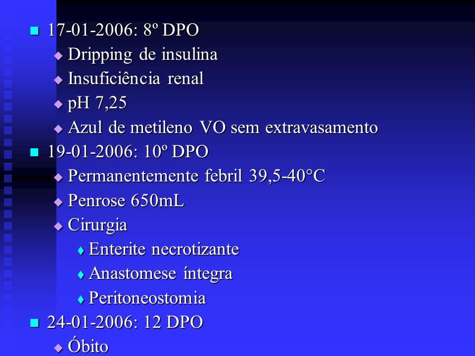 17-01-2006: 8º DPO Dripping de insulina. Insuficiência renal. pH 7,25. Azul de metileno VO sem extravasamento.