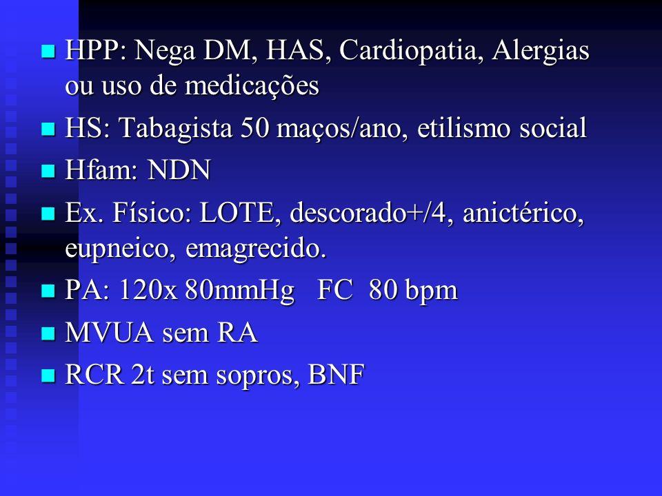 HPP: Nega DM, HAS, Cardiopatia, Alergias ou uso de medicações