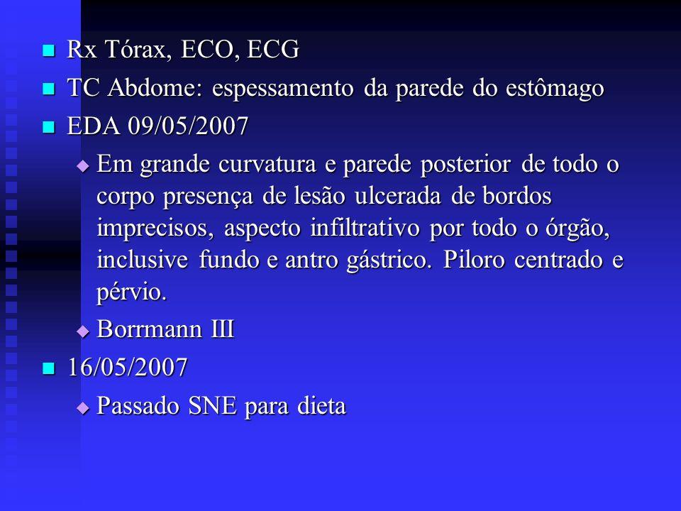 Rx Tórax, ECO, ECG TC Abdome: espessamento da parede do estômago. EDA 09/05/2007.
