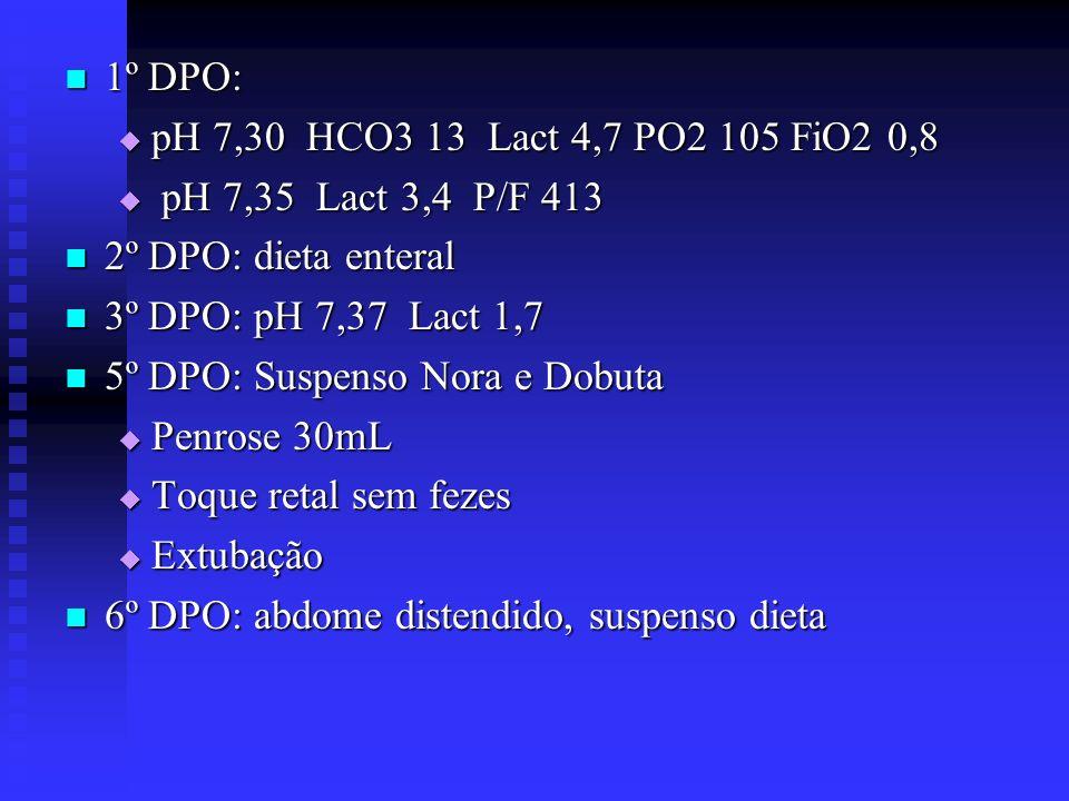 1º DPO: pH 7,30 HCO3 13 Lact 4,7 PO2 105 FiO2 0,8. pH 7,35 Lact 3,4 P/F 413. 2º DPO: dieta enteral.