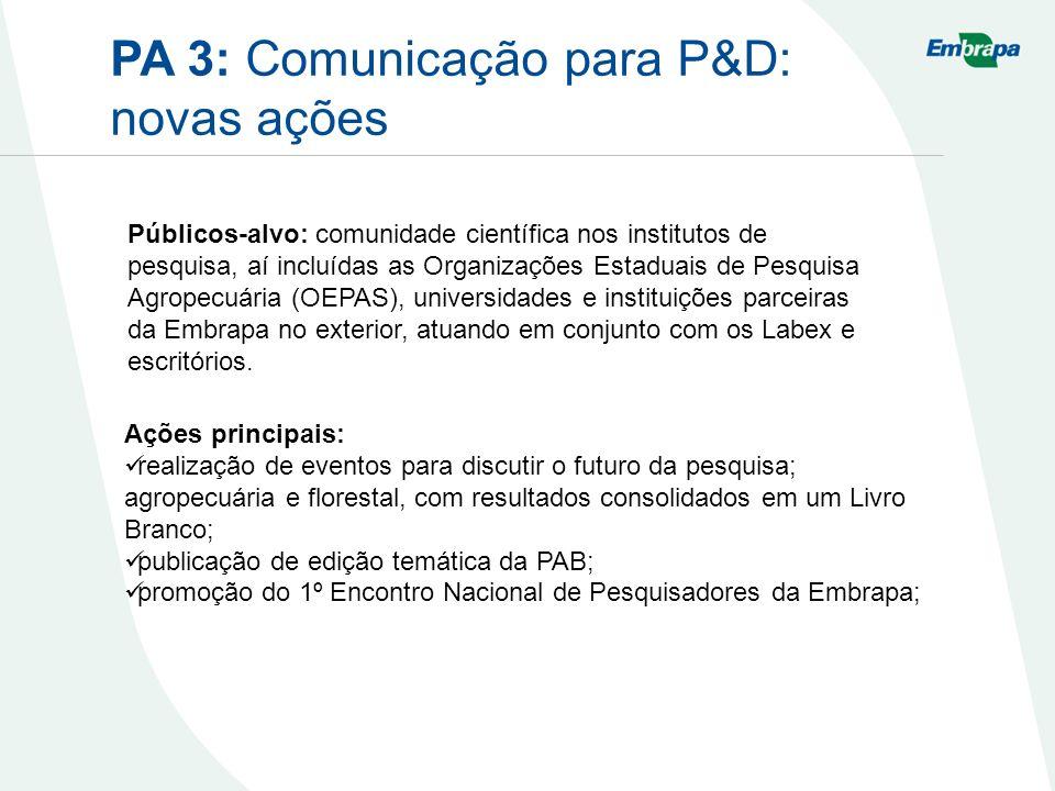 PA 3: Comunicação para P&D: novas ações