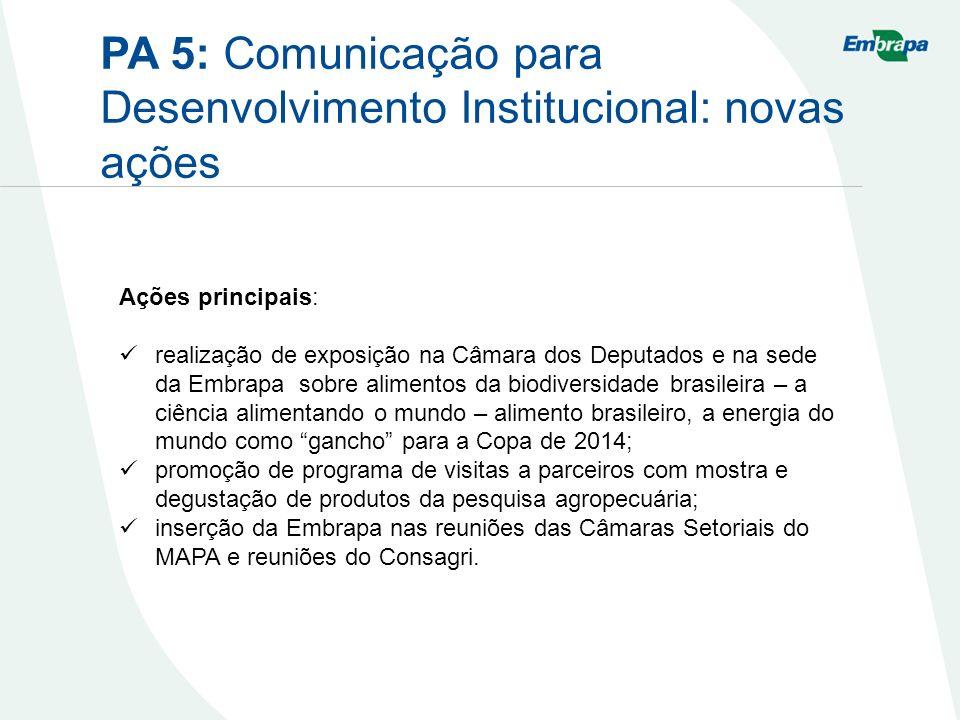 PA 5: Comunicação para Desenvolvimento Institucional: novas ações