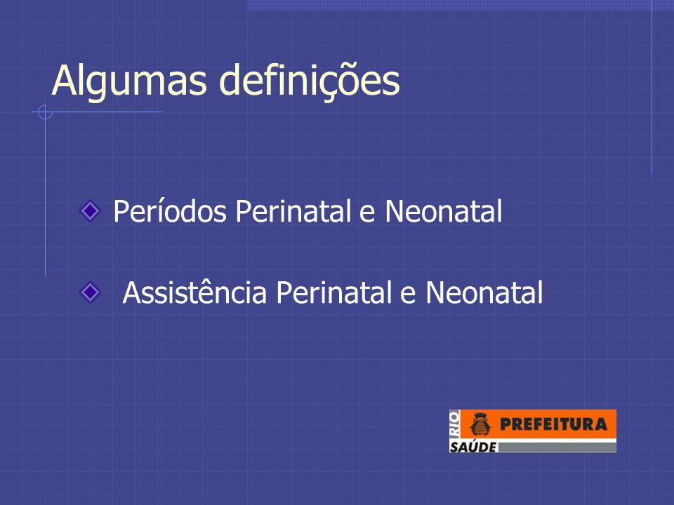Algumas definições Períodos Perinatal e Neonatal