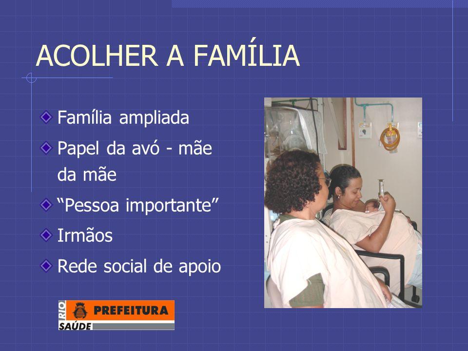 ACOLHER A FAMÍLIA Família ampliada Papel da avó - mãe da mãe