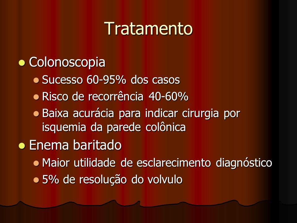 Tratamento Colonoscopia Enema baritado Sucesso 60-95% dos casos