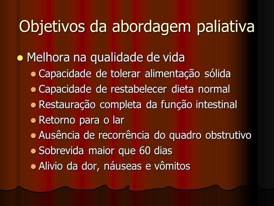Objetivos da abordagem paliativa