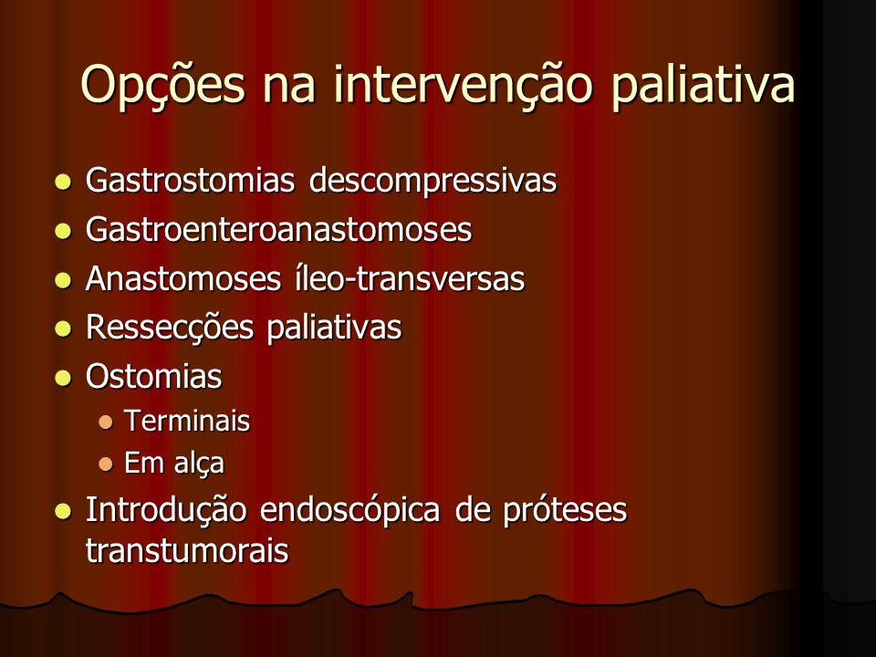 Opções na intervenção paliativa