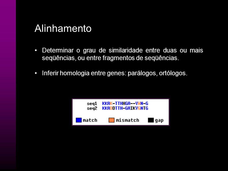 AlinhamentoDeterminar o grau de similaridade entre duas ou mais seqüências, ou entre fragmentos de seqüências.