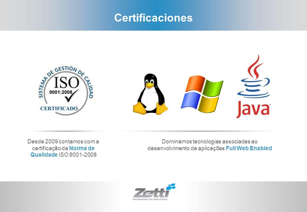 Certificaciones Desde 2009 contamos com a certificação da Norma de Qualidade ISO 9001-2008.
