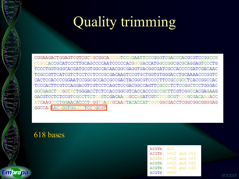 Quality trimming 618 bases