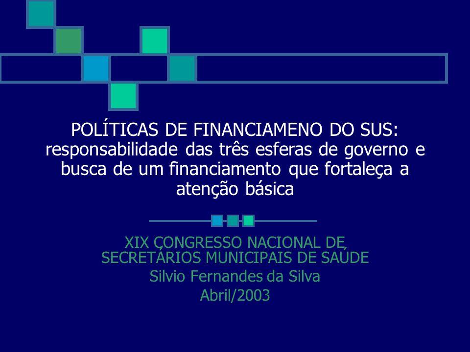 POLÍTICAS DE FINANCIAMENO DO SUS: responsabilidade das três esferas de governo e busca de um financiamento que fortaleça a atenção básica