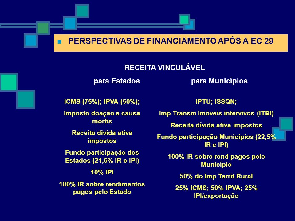 PERSPECTIVAS DE FINANCIAMENTO APÓS A EC 29