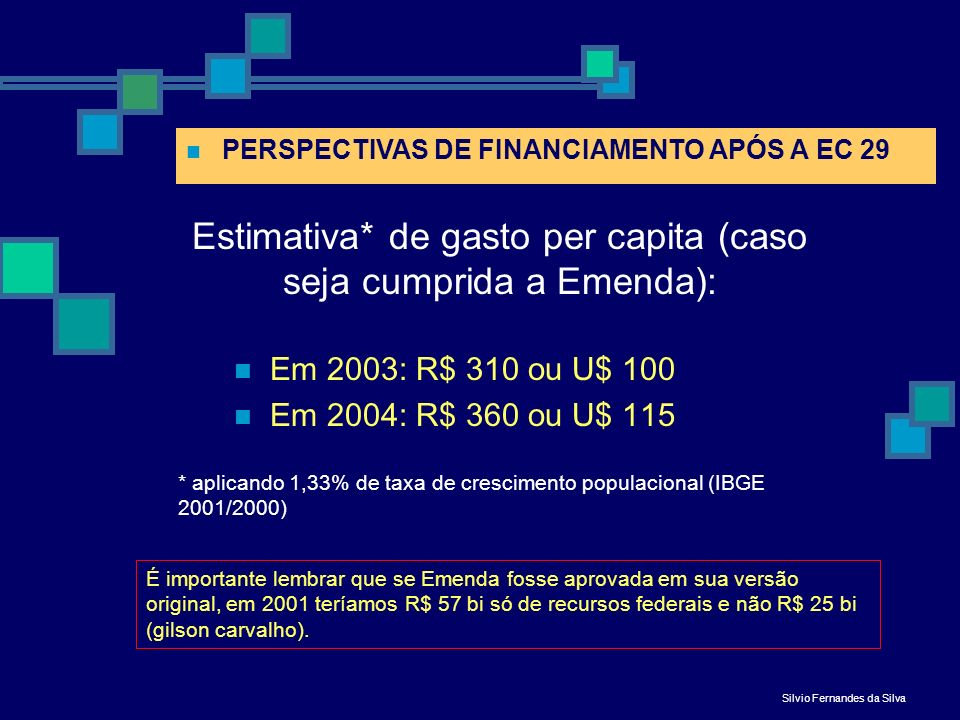Estimativa* de gasto per capita (caso seja cumprida a Emenda):