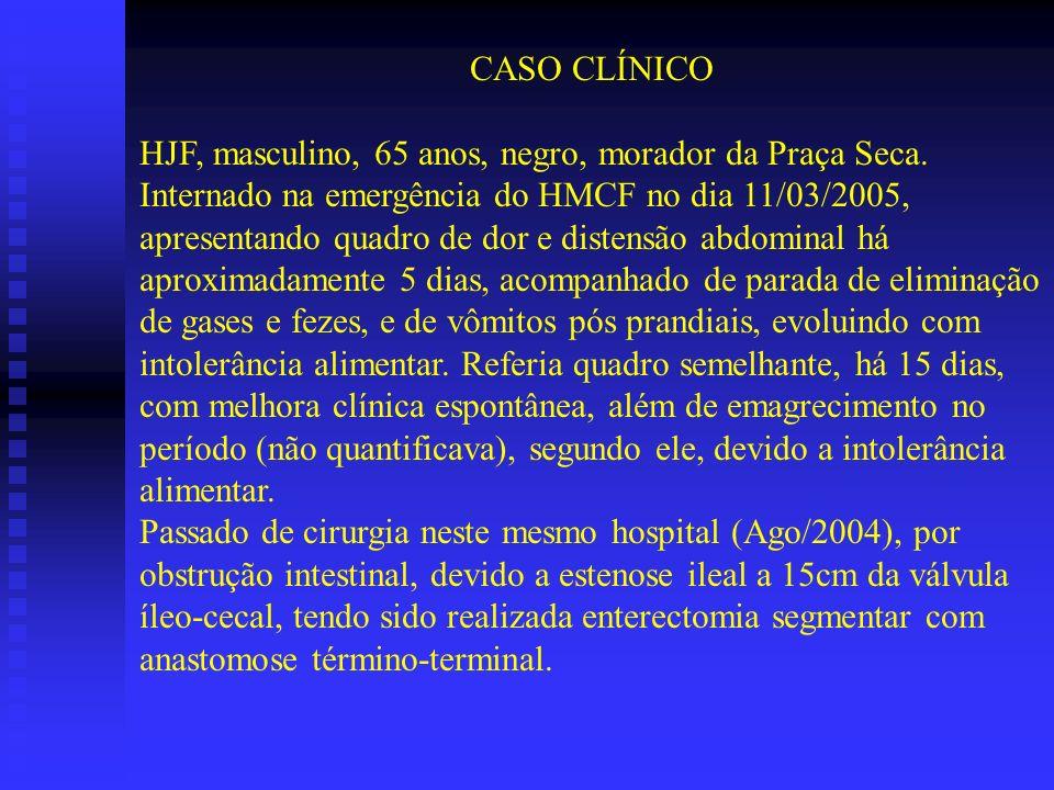 CASO CLÍNICO HJF, masculino, 65 anos, negro, morador da Praça Seca.