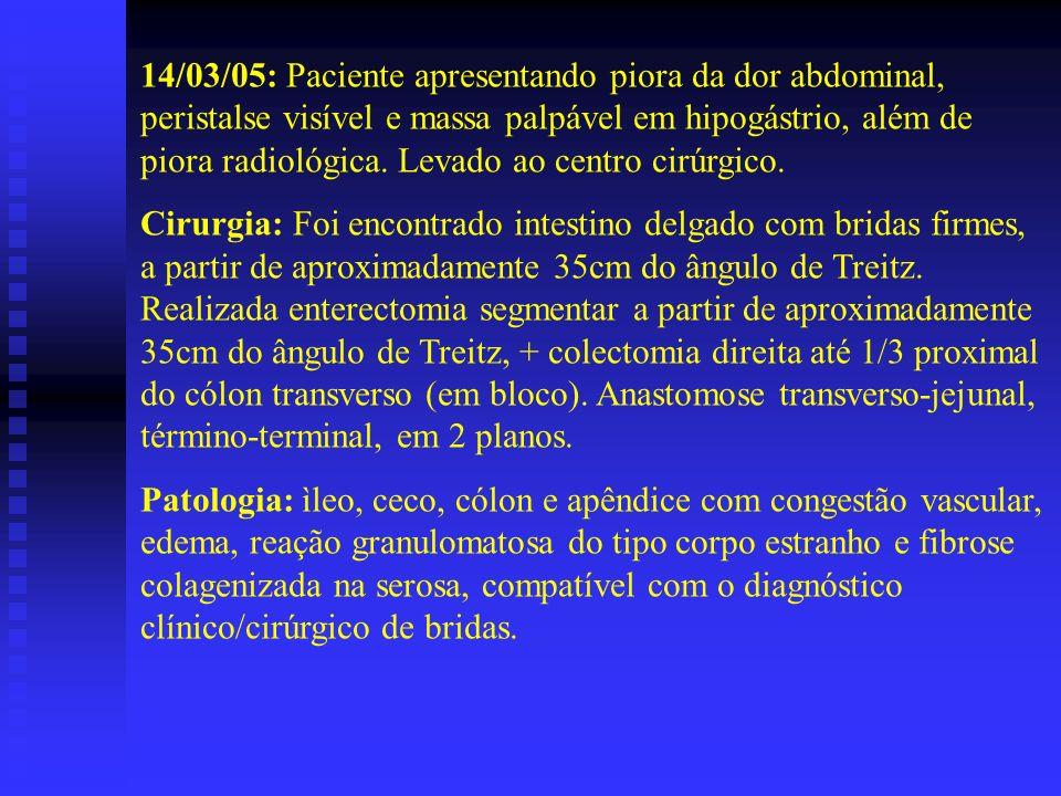 14/03/05: Paciente apresentando piora da dor abdominal, peristalse visível e massa palpável em hipogástrio, além de piora radiológica. Levado ao centro cirúrgico.