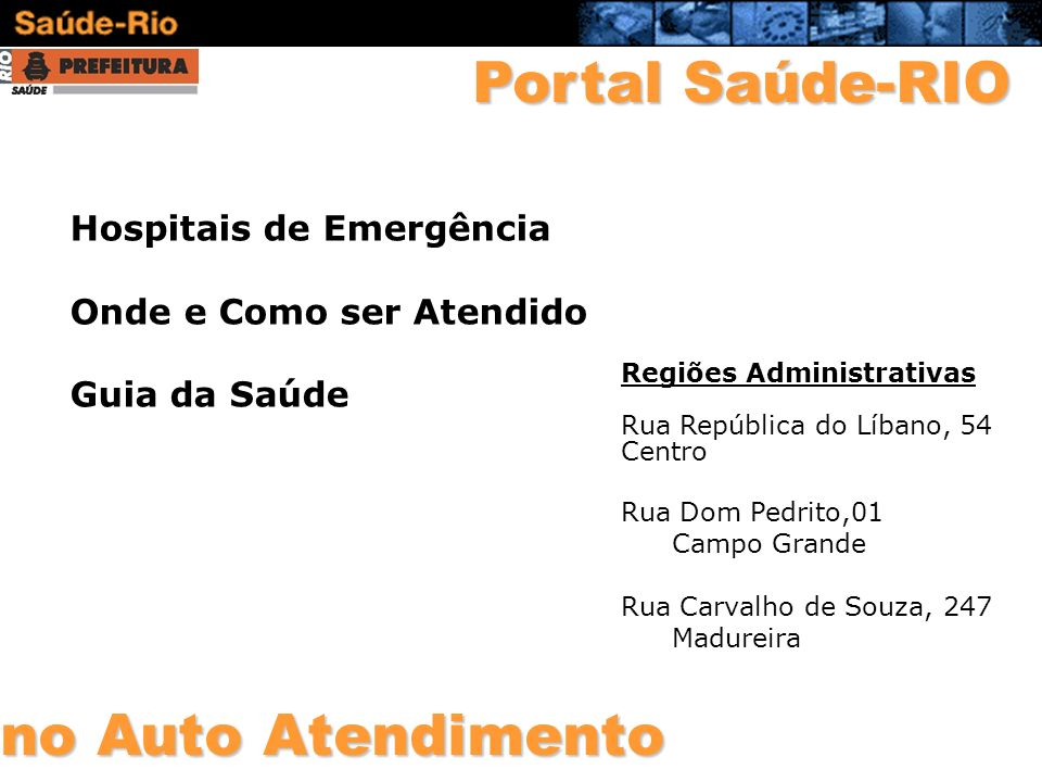 Portal Saúde-RIO no Auto Atendimento