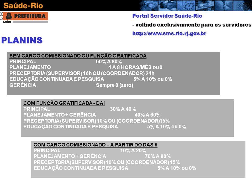 PLANINS Portal Servidor Saúde-Rio