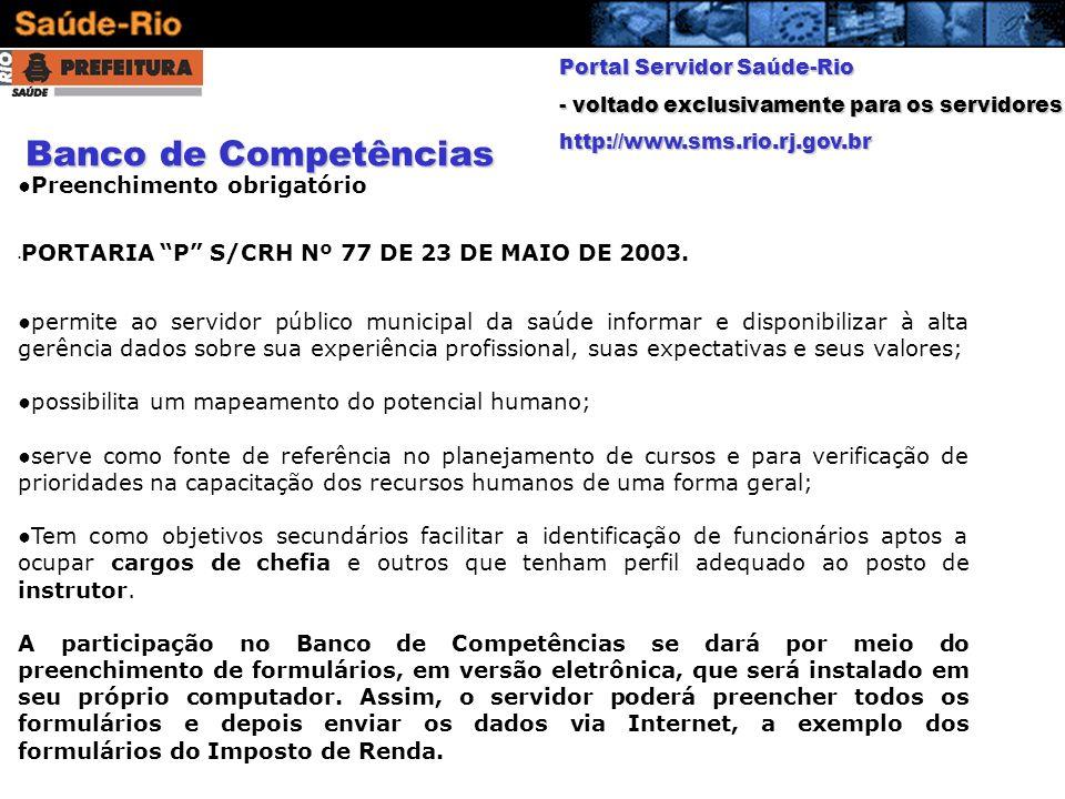 Banco de Competências Preenchimento obrigatório