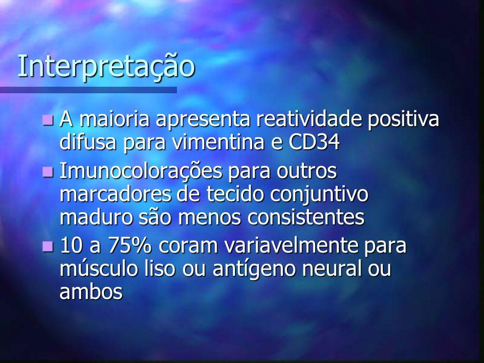 Interpretação A maioria apresenta reatividade positiva difusa para vimentina e CD34.