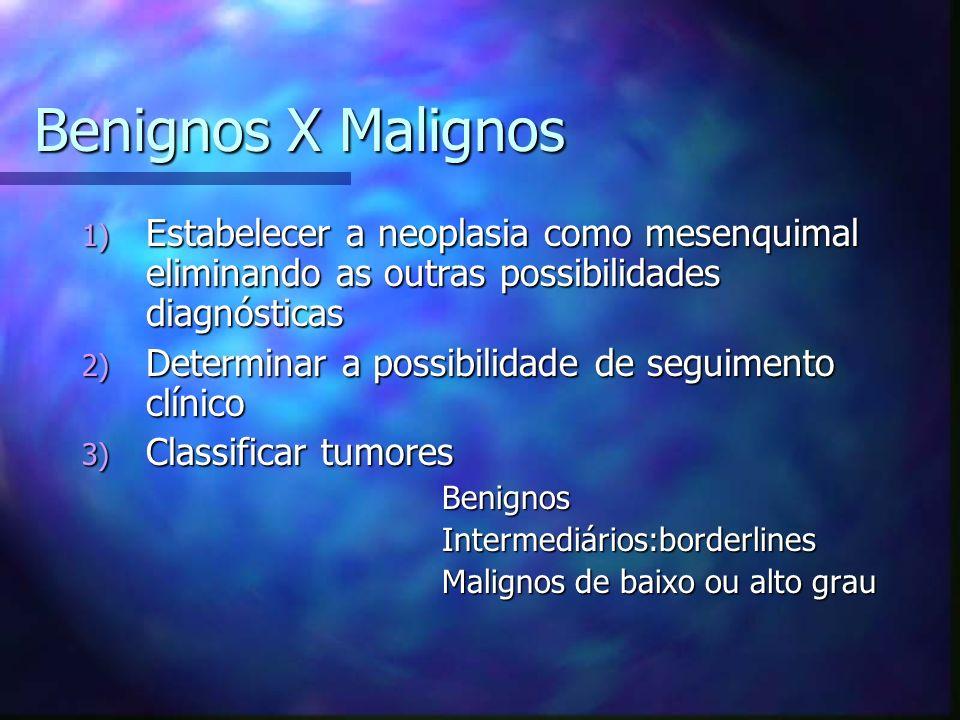 Benignos X Malignos Estabelecer a neoplasia como mesenquimal eliminando as outras possibilidades diagnósticas.