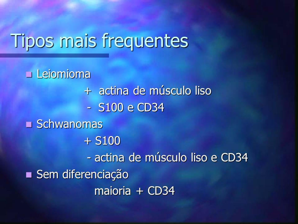 Tipos mais frequentes Leiomioma + actina de músculo liso - S100 e CD34