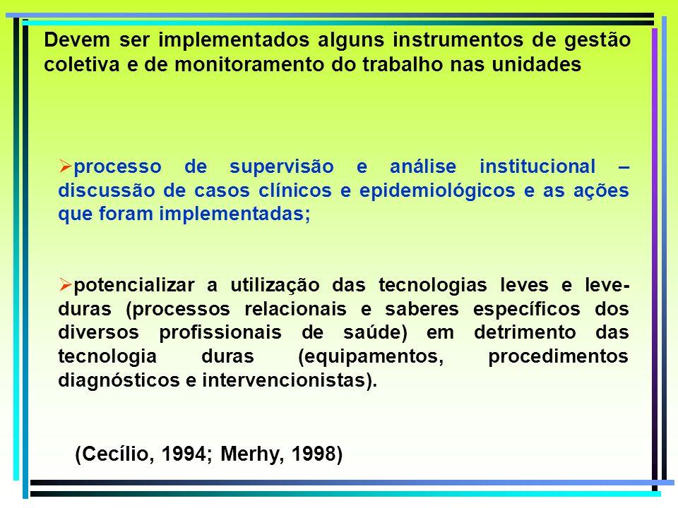 Devem ser implementados alguns instrumentos de gestão coletiva e de monitoramento do trabalho nas unidades