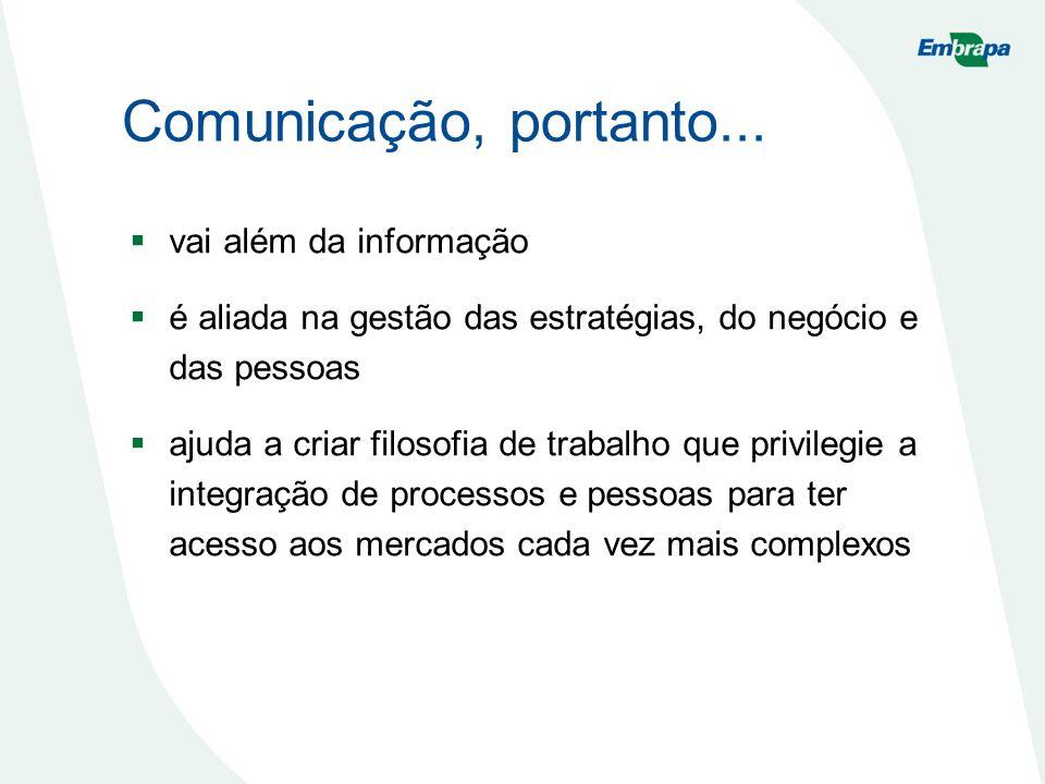 Comunicação, portanto... vai além da informação