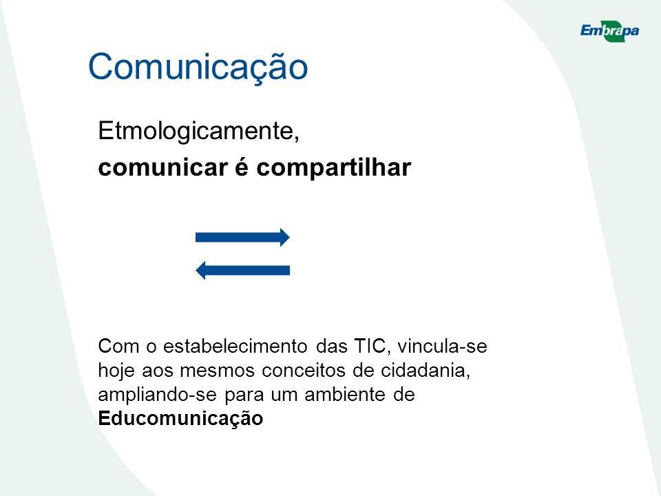 Comunicação Etmologicamente, comunicar é compartilhar
