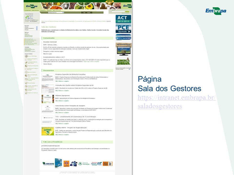 Página Sala dos Gestores https://intranet.embrapa.br/saladosgestores