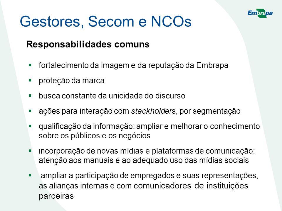 Gestores, Secom e NCOs Responsabilidades comuns